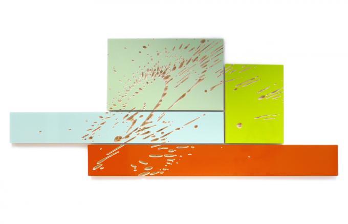 Wolfgang Flad, Relief, 4-teilig, 4-part, Holz, wood, Kunst, art RBK