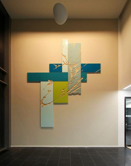 Wolfgang Flad, relief, wallpiece, art in building