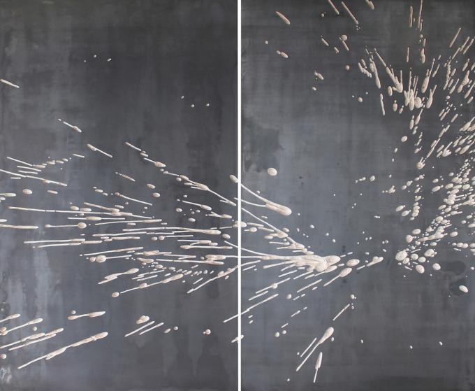 Wolfgang Flad, Relief, 2-teilig, 2-part, Holz, Eisen, wood, iron, Frankfurt