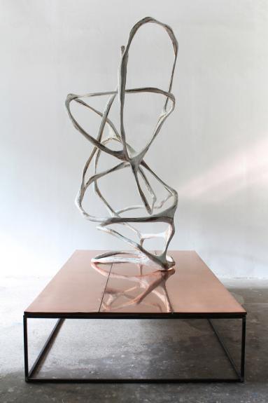 Wolfgang Flad, Skulptur, sculpture, wood, papier-mâché, copper, steel tubes